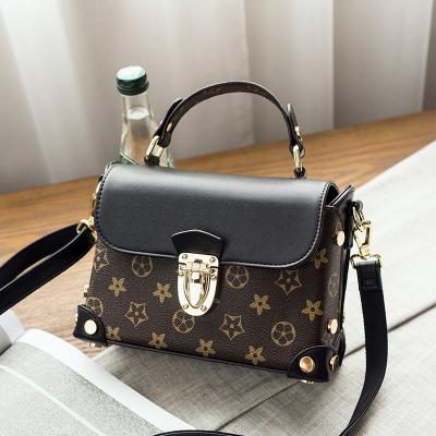 米尔 2017新款欧美时尚小方包锁扣包复古手提包百搭单肩斜挎小包包
