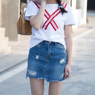 十米菲 2017夏季时尚新款休闲牛仔短裙#8511