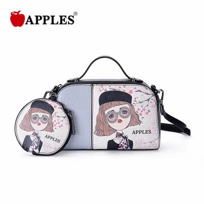 APPLES/苹果 新款时尚潮流卡通拼色手提斜挎小包配零钱小包 AA133027