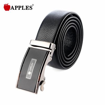 APPLES/苹果 休闲简约摔纹牛皮斜纹枪色自动扣男士皮带SC-717001A