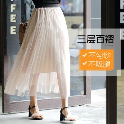 2017夏季新款韩版网纱百褶纱裙半身裙子女 QS076