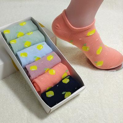 2017尚御棉 御棉时尚新款可爱水果图案船袜甜美糖果色女棉袜萌妹子必备成人袜 W2008