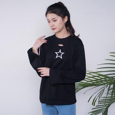 木色 韩版圆领刺绣长袖T恤 66015