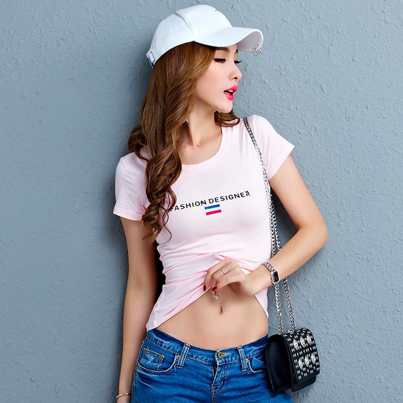 2018萨曼世家夏装 时尚潮流短袖修身显瘦T恤女装韩版