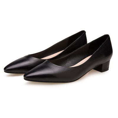 姈美诗 秋冬新款简约气质粗低跟小牛皮职业女小方头单鞋YP003