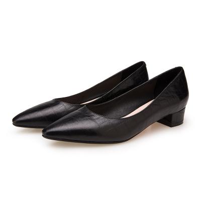 妗美诗 秋冬新款简约舒适低粗跟压纹牛皮少方头女单鞋YP005