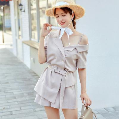 乔致奈莫 2017新款韩版简约时尚女装裤装两件套 Q-1147
