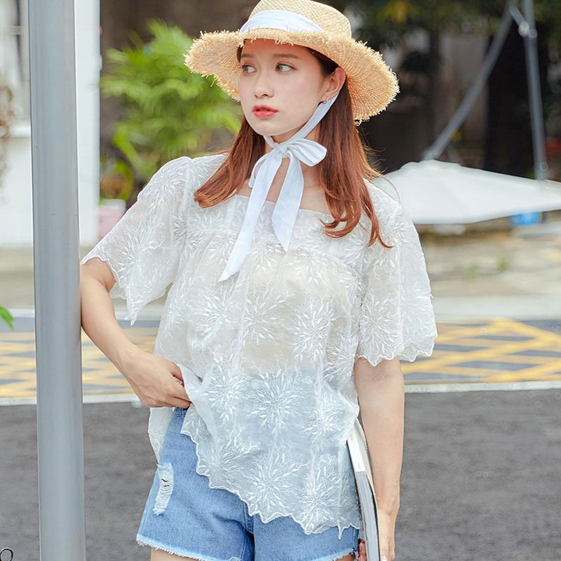 乔致奈莫 2017新款蕾丝衫女短袖宽松甜美V领蕾丝衫 Q-1138