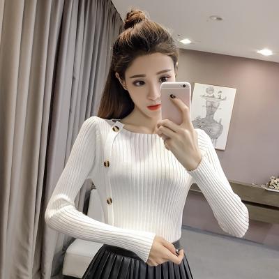 素裁 2017年秋冬新款时尚修身圆领针织衫女装上衣 8681