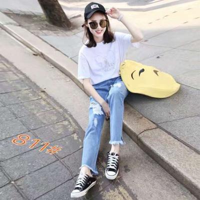 伊人美 2017新款上新时尚修身休闲牛仔女裤 811#