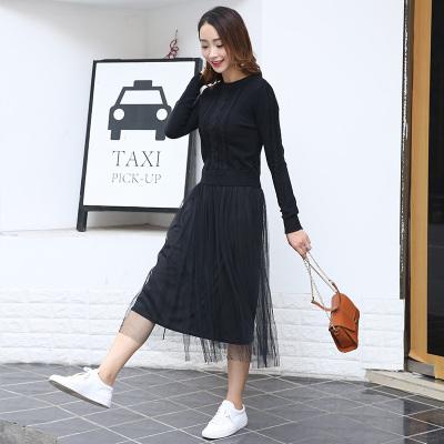 琴之云裳 2017年秋冬款新款时尚毛衫纱裙连衣裙套装8512