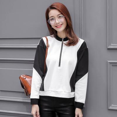慕思雨 2017秋季上新简约韩版圆领女宽松显瘦上衣长袖卫衣 6147