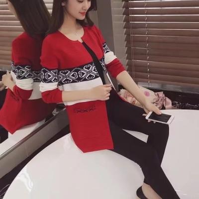 J.S.YU 2017秋季新款中长款通勤开衫长袖低圆领拼色提花针织外套 JS7C10