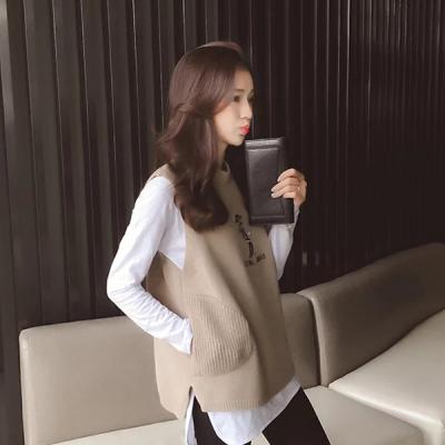 J.S.YU 2017秋冬新款韩版刺绣2宽松针织无扣半高领背心马甲 JS7C015