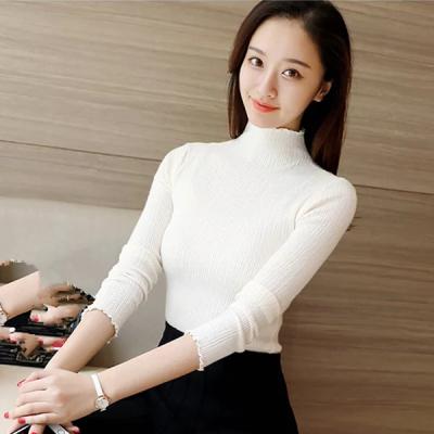 J.S.YU 2017新款韩版通勤高领长袖修身套头高领纯色针织衫JS7C03