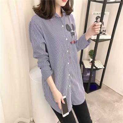 J.S.YU 2017秋冬新款韩版宽松米奇印花纯棉条纹衬衫JS7C02