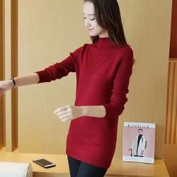 J.S.YU  新秋套头长袖 韩版中纯色高领棉通勤修身打底针织衫JS7C04
