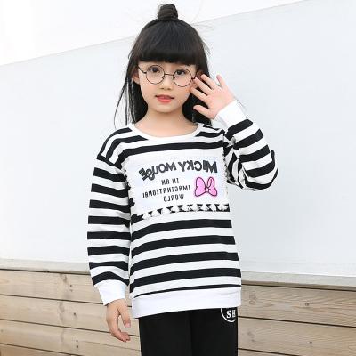 童话歌 2017秋季上新韩版简约可爱印花条纹女上衣长袖衫 3033
