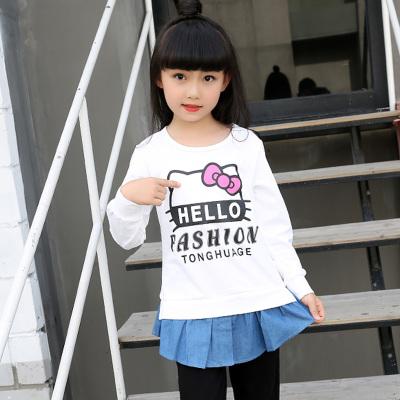 童话歌 2017秋季上新韩版简约可爱字母印花女上衣长袖衫 3040