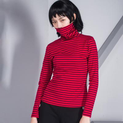 原创设计2017春夏新款高领长袖上衣百搭款条纹T恤女