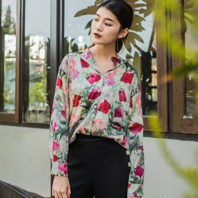 原创设计2017新款韩版碎花衬衫女百搭修身气质款长袖衬衣