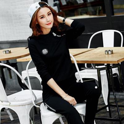 萨曼世家 2018新款简约时尚潮流运动风卫衣套装女装 8090