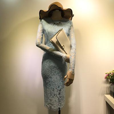 曼羽信 2018秋季新款实拍镂空长袖蕾丝上下两件套装裙子 0719