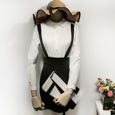 曼羽信 2017秋季新款韩版OL修身显瘦衬衫包臀背带针织两件套短连衣裙 0723