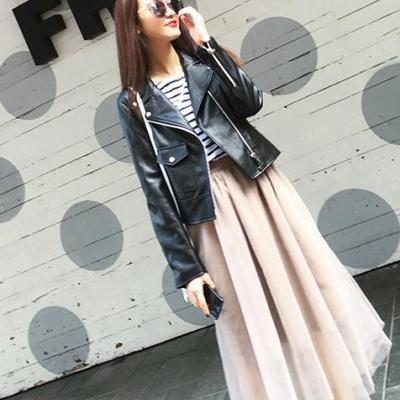 【秒杀款 】半简主义 2017年秋季新款修身百搭百褶纱裙半身纱裙 QS076