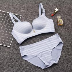 性感无痕调整型文胸聚拢文胸 女士内衣向大大同款心电图文胸套装066#