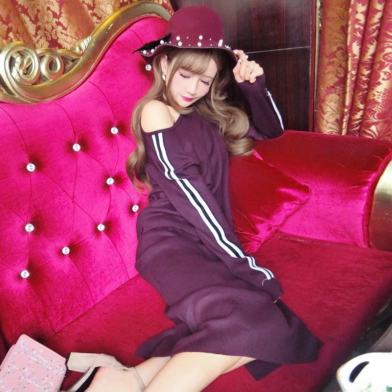曼羽信 实拍秋冬新款小香风针织连衣裙条纹撞色毛衣包臀裙两件套女潮 1619