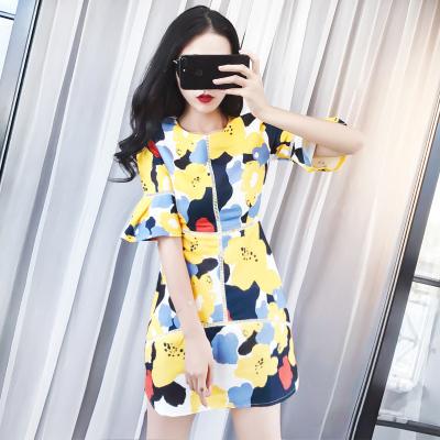 曼羽信 夏装新款女装名媛气质印花连衣裙修身显瘦 1035