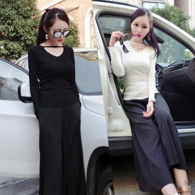 曼羽信 2018实拍秋冬新款韩版修身显瘦纯色长袖针织衫v领镂空套头上衣女 1618