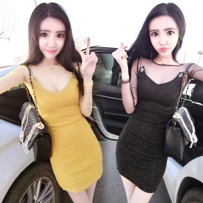 曼羽信 实拍春季新款韩版网纱长袖打底衫链条吊带修身连衣裙两件套女 0785