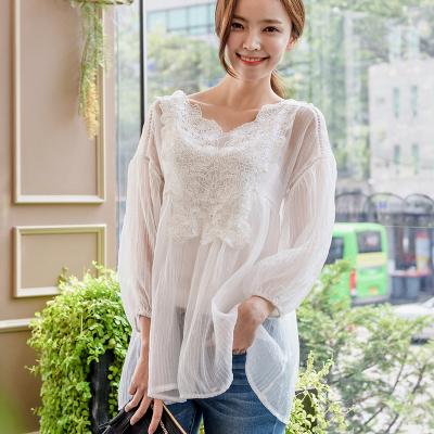 恩黛 2017韩版女装秋季新款长袖蕾丝上衣吊带两件套蕾丝衫Q047F6963