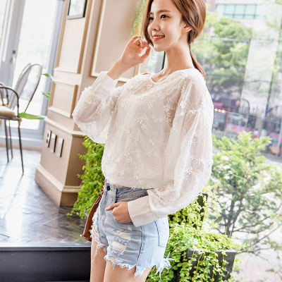 恩黛 实拍2017秋季新款韩版女装长袖雪纺衫圆领绣花两件套上衣 Q047F6975