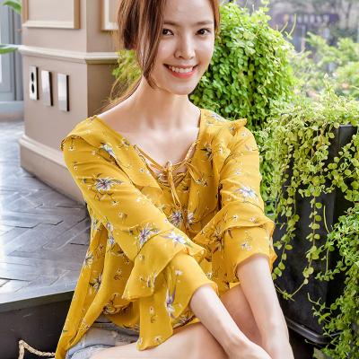 恩黛 实拍2017秋季新款韩版女装长袖印花雪纺上衣荷叶领雪纺衫 Q047F6960