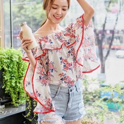 恩黛 实拍2017韩版女装秋季新品长袖一字领雪纺衫荷叶边上衣T恤 Q47F6969
