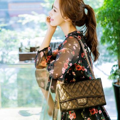 恩黛 2018春夏新款韩版女装修身碎花裙印花长袖雪纺连衣裙Q047F6947
