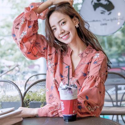 恩黛 实拍2017秋季新款韩版女装宽松印花上衣T恤V领长袖雪纺衫 Q047F6999
