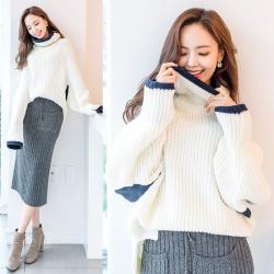 恩黛 2017秋冬季新款女装毛衣长袖韩版撞色高领纯色针织衫 Q047F6034
