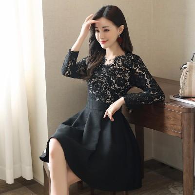布桂坊2017早秋新品睫毛蕾丝拼接收腰长袖蕾丝连衣裙5030