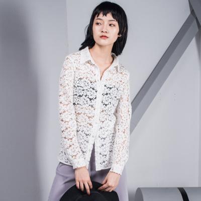 原创设计2017新款韩版蕾丝镂空衬衫女百搭修身气质款长袖衬衣