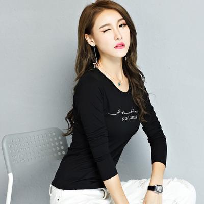 萨曼世家 2018新款简约时尚修身显瘦长袖T恤打底衫韩版女装 710