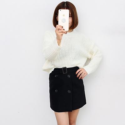 2017秋季韩版修身短裙套装洞洞针织衫毛衣长袖时尚单件毛衣8132