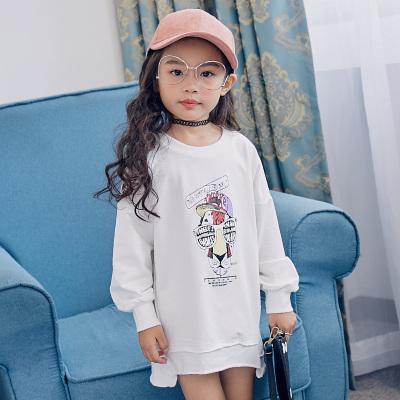 魔逗星 简约童趣女童白色卫衣 M042