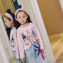 魔逗星  简约童趣条纹女童卫衣  M043