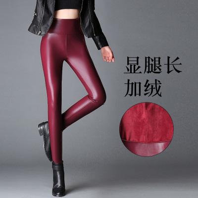 康雅雪莹 2017冬季加绒加厚pu皮裤韩版高腰加大码女式小脚裤女裤8536