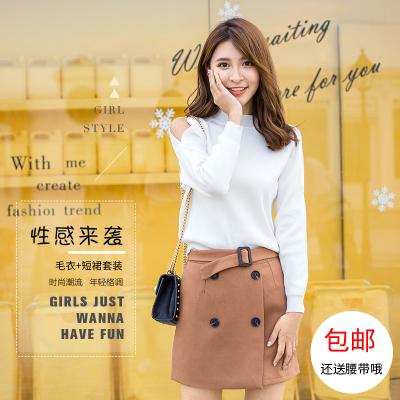 女人志2017新款秋冬毛衣裙子套装#8131