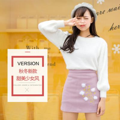 女人志2017新款秋冬毛衣裙子套装#8119